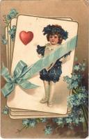 1906 Card game. Embossed floral litho (EK)
