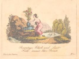 cca 1800 Rosentage színezett metszet, üvegezett keretben, 6,5×9 cm