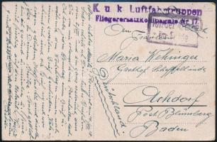 1918 Tábori posta képeslap K.u.k. Luftfahrtruppen Fliegerersatzkompagnie Nr.17.