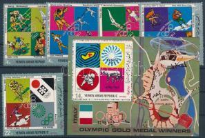 Italian olympic medal winners set + block, Olasz olimpiai érmesek sor + blokk