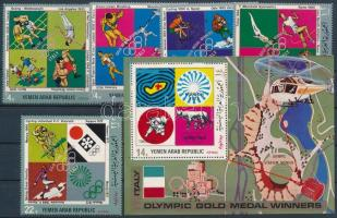 1971 Olasz olimpiai érmesek sor + blokk, Italian olympic medal winners set + block Mi 1480-1484 + Mi 177