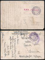 1916-1917 2 db tábori posta képeslap haditengerészeti bélyegzésekkel