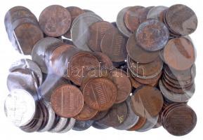 Amerikai Egyesült Államok 1966-2015. 1c Lincoln (67db) + 1946-1997. 5c Jefferson (19db) + 18db ausztrál, kanadai és új-zélandi 1c érme T:2-4 USA 1966-2015. 1 Cent Lincoln (67pcs) + 1946-1997. 5 Cent Jefferson (19pcs) + 18pcs Australian, Canadaian and New-Zealander 1 Cent coins C:XF-G
