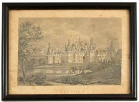 Chambord kastély, Acélmetszet, üvegezett keretben. cca 1840. Külső méret: 21x17 cm
