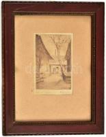 Vári Vojtovits Zoltán (1890-1953): Tabáni udvar. Rézkarc, papír. Jelzett. 11x7 cm. Üvegezett keretben.