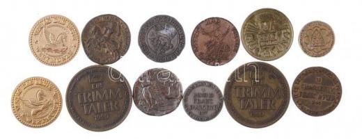 12db vegyes francia, német zseton, közte A francia királyok kincstára fém zsetonok + 1990. Ein Trimm Taler Br emlékérem (2x) T:2,2- 12pcs of mixed French, German tokens, commemorative medallions, with Le Trésor des Rois de France (The Treasury of the Kings of France) metal tokens + 1990. Ein Trimm Taler Br commemorative medallion (2x) C:XF,VF