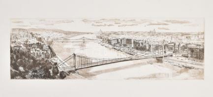 Blahos Rudolf (1917-1986): Pesti látkép. Rézkarc, papír, jelzés nélkül, 16×49 cm