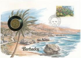 Barbados 1973. 5c felbélyegzett borítékban, bélyegzéssel, német nyelvű leírással T:1  Barbados 1973. 5 Cents in envelope with stamp and cancellation, with German description C:UNC