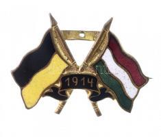 Osztrák-Magyar Monarchia ~1914. Német és magyar zászlós patrióta jelvény (20x28mm) T:2 hiányzik a felső rész Austro-Hungarian Monarchy ~1914. Patriotic Badge with German and Hungarian flag (20x28mm) C:XF missing upper piece