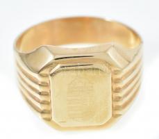 14K arany (Au) pecsétgyűrű magyar címerrel, jelzett, méret: 68, nettó: 5,6 g, kissé sérült díszdobozban