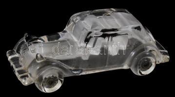 Daum France jelzéssel üveg autó, kis kopásnyomokkal, h: 16 cm