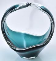 Flygsfors jelzéssel üveg kosár, anyagában színezett, kis kopásnyomokkal, m: 14 cm