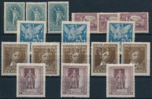 1923 Petőfi Sándor I. 3 db sor + másodpéldányok (8.000) (néhány bélyegen kisebb hibák / some small flaws)