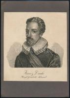 cca 1800 Francis Drake brit admirális rézmetszetű portréja 15x17 cm