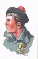 WWI French Navy art postcard, mariner. A. Noyer (Paris) No. 15. s: Jean Droit (EK)