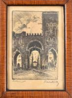 Krón Béla (1884-1965): Milano, Porta in corso di Porta Ticinese. Rézkarc, papír, jelzett, üvegezett fa keretben, 10,5×7 cm