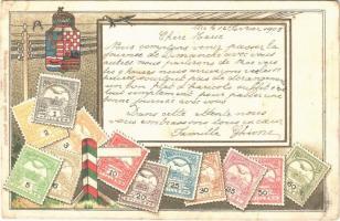 1905 A Magyar kir. Posta bélyegei. Címer / Set of Hungarian stamps, coat of arms. Philatelie-Ansichtskarte Emb. litho (szakadás / tear)