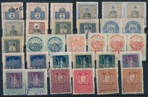 1903-1934 31 db Magyar illeték és törvénykezési illetékbélyeg,közte összefüggésekkel