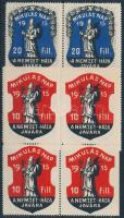 1915 Mikulás nap A Nemzet-Háza 8 db levélzáró, 10 és 20f piros-kék négyestömbökben