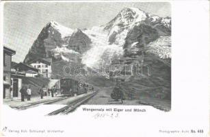 Wengernalp mit Eiger und Mönch, Bahnhof / railway station, train. Hch. Schlumpf Photographie Auto No. 468. (Rb)