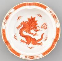 Meisseni kínai sárkány mintás porcelán hamutál, kézzel festett, jelzett, apró kopásnyomokkal. d. 12,5 cm, m: 2,5 cm