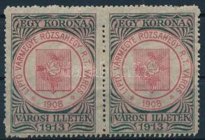 Rózsahegy 1913 Városi illeték 1K használatlan vízszintes pár (80.000)