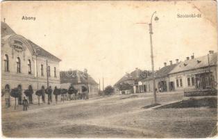 Abony, Szolnoki út, Kossuth szálloda, üzletek. Kássa Gyula kiadása (EB)