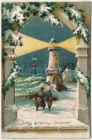 Boldog Karácsonyi ünnepeket! Dombornyomott litho mechanikus képeslap / Christmas, embossed litho mechanical postcard