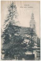 1912 Perlak, Prelog; Római katolikus templom. Fejer Károly kiadása / Catholic church (ázott / wet damage)