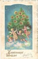 1899 (Vorläufer) Karácsonyi üdvözlet karácsonyfával / Christmas greeting, embossed litho