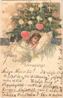 Boldog karácsonyi ünnepeket / Christmas. Art Nouveau, litho (EM)