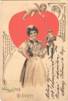 1903 Boldog új évet! / New Year. W.W. 5364. Art Nouveau, litho (EM)