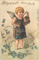1904 Boldog új évet! Angyalka, dombornyomott litho / New Year. Angel, embossed, litho (EK)