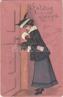 1905 Boldog újévet! Dombornyomott litho hölgy / New Year, embossed litho lady. P.F.B. Serie 3571. (EK)
