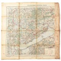 cca 1920-1930 A Balaton tágabb környékének térképe,1:200.000, Bp., Magyar Királyi Állami Térképészet, vászonra kasírozva, foltos, kissé sérült, a szélén hiánnyal, 50x47 cm