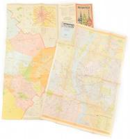 1970-1971 Budapest térképe és Budapest belső területének térképe, Bp., Kartográfia, 81x90 cm (teljes: 81x117 cm) és 68x49 cm