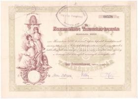 Szekszárd 1924. A Szekszárdi Takarékpénztár részvénye 25.000K-ról, felülbélyegzéssel, szárazpecséttel, szelvényekkel T:II-