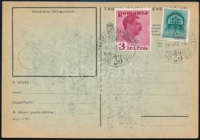 1940 Címzetlen tábori lap magyar-román bérmentesítéssel, hátoldalán sokszorosítva vitéz Kéray Endre Nagyváradon (1940) c. verse