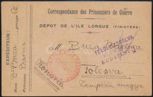 1916 Buza Barna politikus, író, később a Károlyi Kormány minisztere polgári internáltként írt levelezőlapja Franciaországból Tolcsvára