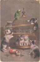 1942 Macskák / Cats. T.S.N. Serie 1432. (ázott / wet damage)