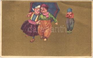 1924 Italian children art postcard. Anna & Gasparini 100-3. (EB)