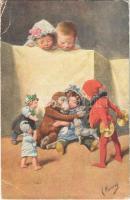 1920 Children art postcard. B.K.W.I. 160-3. s: K. Feiertag (EB)