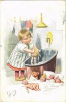 1918 Children art postcard, dolls, teddy bear. B.K.W.I. 480-1. s: K. Feiertag (EK)