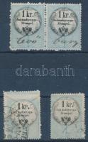 cca 1860 4 db 1 kr hirdetmény illetékbélyeg látványos képbe fogazással