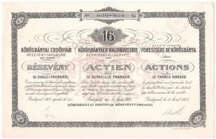 Budapest 1924. Körösbányai Erdőipar Részvénytársaság részvénye 16Fr-ról, 3 nyelven, szelvényekkel, szárazpecséttel T:I-