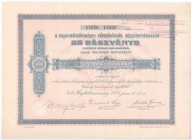 Hajdúböszörmény 1924. Hajdúböszörményi Kötszövőgyár Részvénytársaság 25 részvénye összesen 5000K-ról, szelvényekkel, felülbélyegzéssel T:I-
