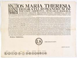 1761 Mária Terézia váltópénzek kibocsájtásáról kiadott rendelete a pénzérmék, krajcárok, tallérok rézmetszetű képével. 63x47 cm