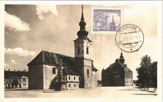 1946 Hodonín, Námestí T. G. Masaryka / square, church