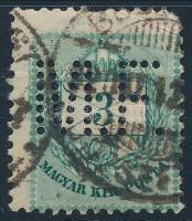 Színes számú krajcáros M.F. perfin (sarok törés/corner fault) (Lente 100 p)