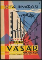 1958 Sztálinvárosi kiállítás és vásár, villamosplakát, 23,5×16,5 cm